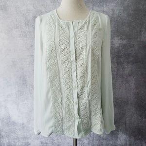 LC Lauren Conrad Mint Crochet Lace Top – S